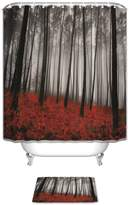 Vandarllin(TM) Mystic Forest Trees and Leaves Red Grass Modern Art Flower Rainy Foggy Gray Scene Print Fabric Shower Curtain Set with Bathroom Mats Rugs- Home Decor,Black and Gray