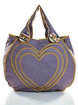 Isabela Capeto Purple Yellow Cotton Embroidered Large Heart Tote Handbag