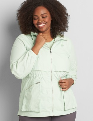 Lane Bryant Crinkle Cinched-Waist Jacket With Convertible Hood