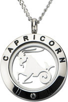 JCPenney FINE JEWELRY Capricorn Zodiac Cubic Zirconia Stainless Steel Locket Pendant Necklace