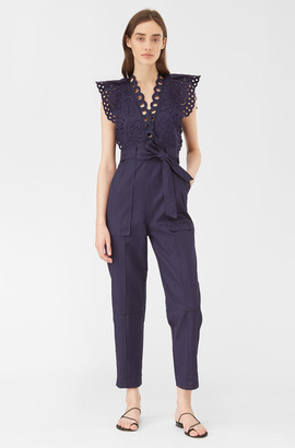 Rebecca Taylor Ariana Eyelet Embroidered Jumpsuit
