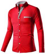 CFD Mens Slim Fit Solid Simple Button Stylish Dress Shirt L