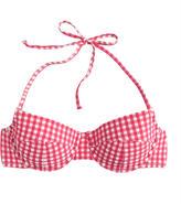 J.Crew DD-cup gingham seersucker demi-underwire halter bikini top