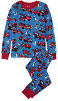 Hatley Children's Fire Trucks Pyjamas, Blue/Red