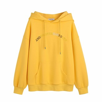 Langfengeu Women Autumn Winter Hoodie Warm Plush Letter Printing Loose Fit Tops Soft Solid Color Long Sleeve Fashion Shirt Yellow
