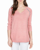 Neiman Marcus V-Neck Relaxed Sweater Tunic, Shell Pink