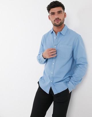 Topman long sleeve twill shirt in light blue