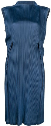 Pleats Please Issey Miyake Pleat Detail Mock Neck Dress