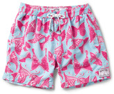 Mustique Pink House Mid-Length Butterfly-Print Swim Shorts