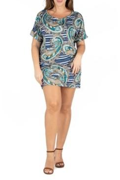 24seven Comfort Apparel Women's Plus Size Paisley Loose Fitting T-shirt Dress
