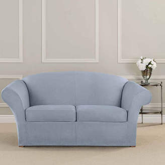 Sure Fit Ultimate Heavyweight Stretch Suede Individual Cushion Loveseat Slipcover