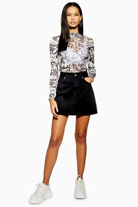 Topshop Black High Waisted Denim Skirt