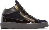 Giuseppe Zanotti Black & Navy Velvet London Mid-Top Sneakers