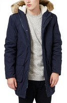Topman Men's Hooded Parka With Faux Fur Trim