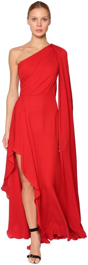 Elie Saab Long One-Shoulder Silk Crepe Dress
