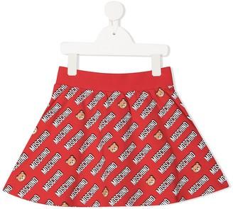 MOSCHINO BAMBINO Logo-Print Flared Skirt