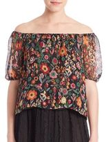 RED Valentino Silk Off-The-Shoulder Blouse