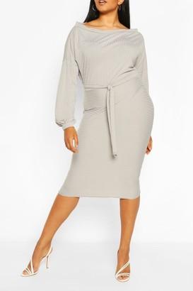 boohoo Plus Soft Rib Slash Neck Midi Dress