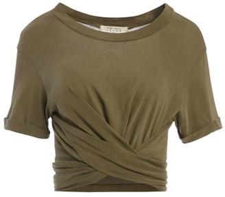 Alice + Olivia Jasper Roll-Sleeve Crossover T-Shirt
