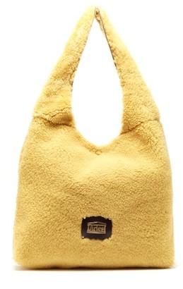 Aries Large Shearling Tote Bag - Beige