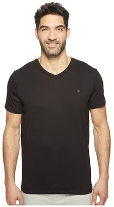 Tommy Hilfiger Short Sleeve Core Flag V-Neck Tee (Black) Men's Underwear