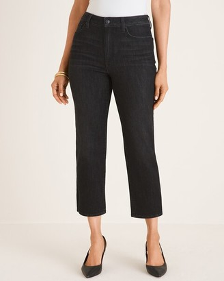 Chico's Charcoal Wash High-Rise Straight-Leg Crops