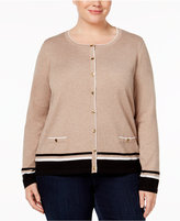 Karen Scott Plus Size Colorblocked Cardigan, Only at Macy's