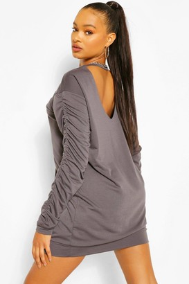 boohoo Ruched Sleeve Cut Out Back Sweat Dress