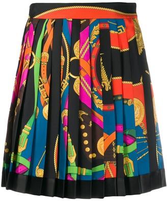 Versace belt print pleated skirt