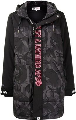 AAPE BY *A BATHING APE® Logo-Print Hooded Padded Coat