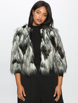 ELOQUII Plus Size Studio Two Tone Faux Fur Jacket