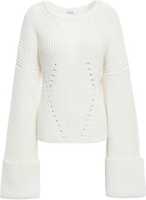 Thierry Mugler Open-back Lace-up Ribbed Cotton-blend Sweater