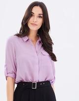 Dorothy Perkins Long-Line Roll Sleeve Shirt