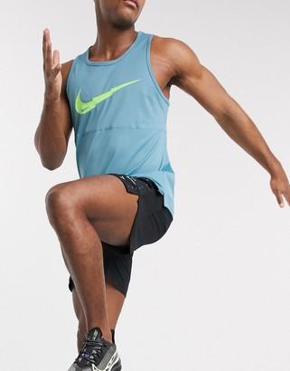 Nike Running Breathe large logo vest in blue