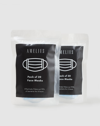 Amelius - Face Masks - 2 Packs of 20 Disposable Face Masks - Size One Size, U at The Iconic