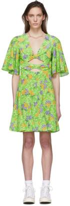 Les Rêveries Green Floral Silk Knot Dress