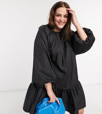 ASOS DESIGN Curve cotton poplin mini smock dress with pephem in black
