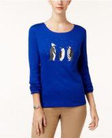 Karen Scott Cotton Penguin-Print T-Shirt, Created for Macy's