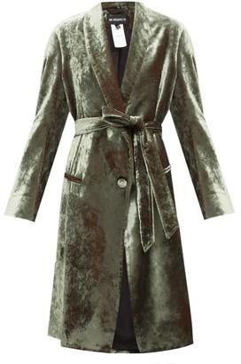 Ann Demeulemeester Longline Velvet Robe Coat - Green