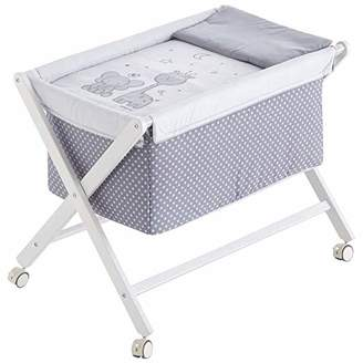 Camilla And Marc Buddy Mini Folding Cot with Removable Legs, Wood, White, 50 x 80 cm, Grey