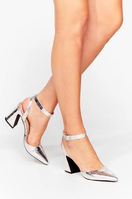 Nasty Gal Womens Croc the Time Metallic Pointed Heels - Grey - 3