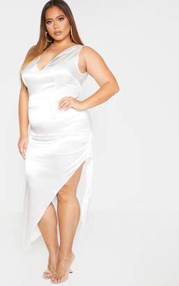 PrettyLittleThing Plus Rust Satin Curved Hem Midaxi Dress