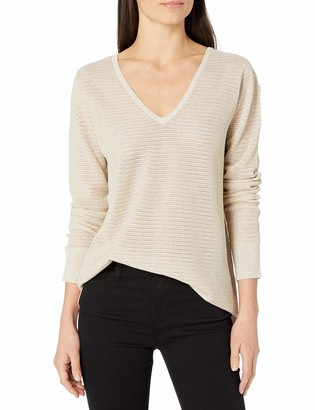 NYDJ Women's Lurex Double V-Neck Sweater Blouse