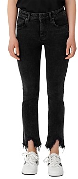 Maje Pachafran Straight Cut Jeans With Raw Hem in Anthracite