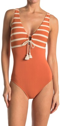 Robin Piccone Abi Plunge Neck One-Piece Swimsuit