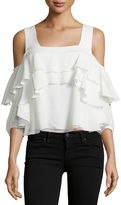 Apiece Apart Viga Cold-Shoulder Silk Ruffle Top
