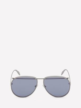 Alexander McQueen Metal Aviator Piercing Sunglasses