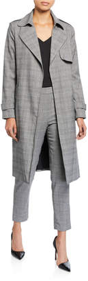 Kenneth Cole New York Printed Tie Front Trench Coat