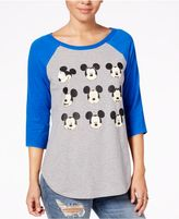 Hybrid Juniors' Mickey Mouse Graphic Raglan T-Shirt