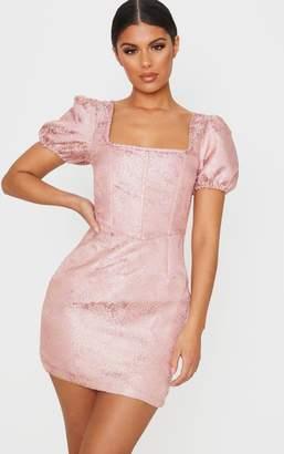 PrettyLittleThing Mint Jacquard Short Sleeve Square Neck Bodycon Dress